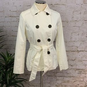 Vintage GAP Double Breasted White Trench Coat NEW